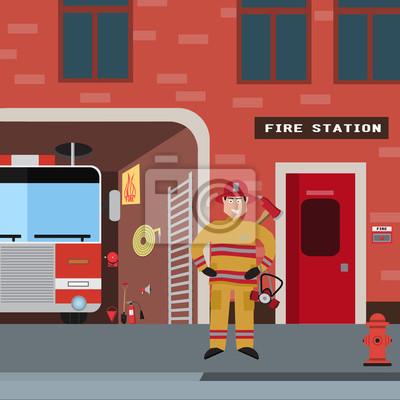 Пожарный вектор набор иконок. Коллекция пожарных тематических символов, включая пожарных, пожарная машина и пожарный,, атрибуты, устанавливает пожарную команду. Векторные иллюстрации eps10.