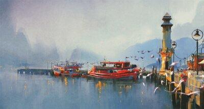 Картина рыбацкой лодке в гавани утром, акварель стиль
