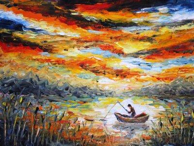 Картина Рыбалка, облака, река. закат, живопись. Шпатель