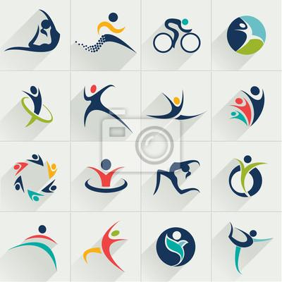 Фитнес спортивные люди веб-иконы установить и вектор логотипы
