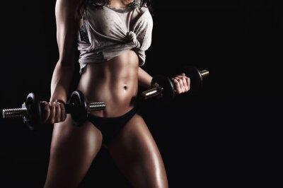 Картина Фитнес женщина в тяжелых тренировок