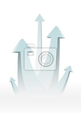 Пять стрелки, идущие вверх - успех концепции иллюстрации