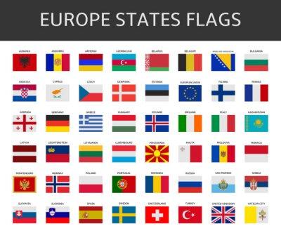 Картина Флаг Европы заявляет, векторный набор