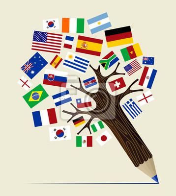 Флаг Разнообразие концепция карандаш дерево