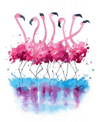 Картина Фламинго акварели