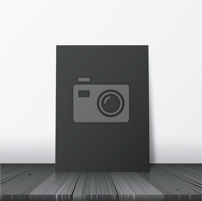 Напольный постер образец для дизайна портфолио презентации. Мир черной бумаги на векторные иллюстрации деревянный пол