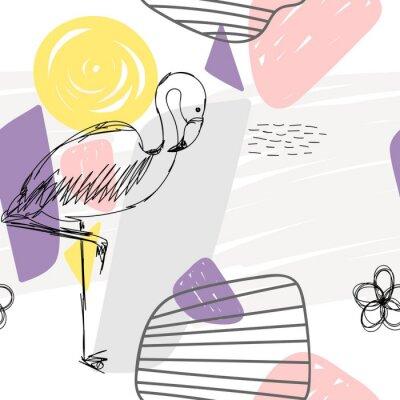 Картина Цветочные абстрактные геометрические бесшовные шаблон с фламинго.