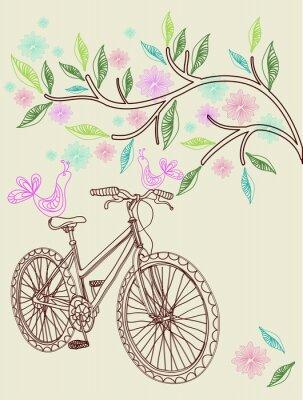 Цветочный фон с велосипеда