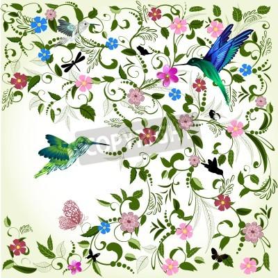 Картина Цветочный фон с птицей