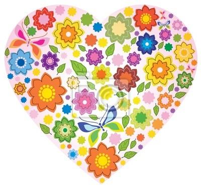Цветочные красочный Сердце и бабочка