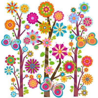 цветочные дерево и бабочки
