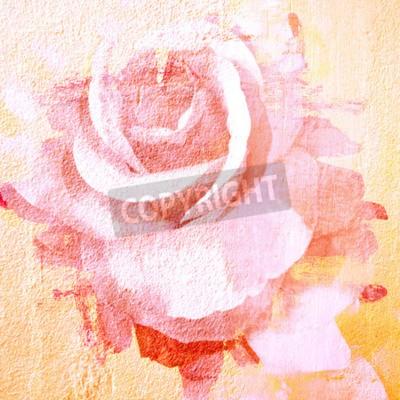 Картина Цветок красивая роза, искусство краска иллюстрации для фона