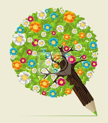Цветок оставляет концепция карандаш дерево