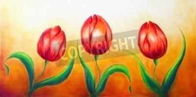 Картина Цветочный мотив, три танцы красный тюльпан цветы, красивые яркие красочные картины на фоне Ocre