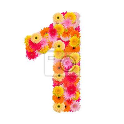 цветок номер один. Цветочный элемент красочных алфавита сделаны из