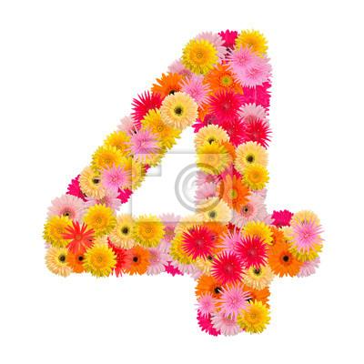 цветок numberfour. Цветочный элемент красочных алфавита сделаны из