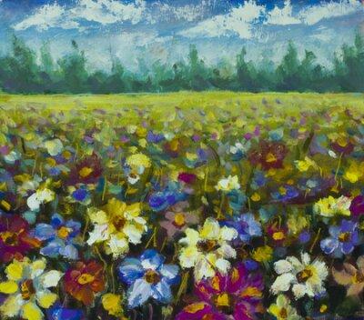 Картина Flowers field oil painting.