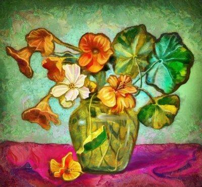 Картина цветы стеклянная ваза