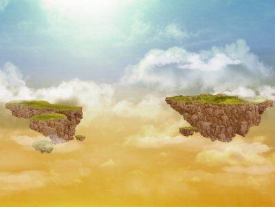 Картина Летающие острова в небе.