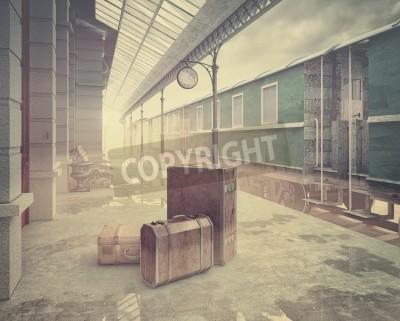Картина туман на ретро железнодорожного вокзала .Vintage цвета в стиле 3D концепции