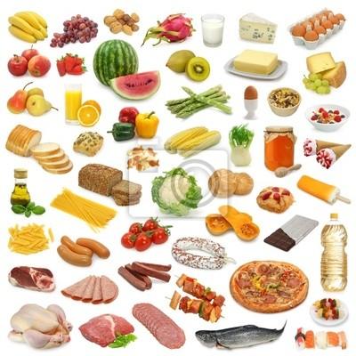 Коллекция Питание на белом фоне