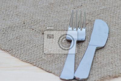 Картина Вилка и нож на мешковине