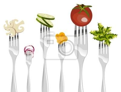 Вилы и овощи последовательность.