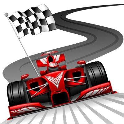 Картина Формула 1 красный автомобиль на гоночной трассы