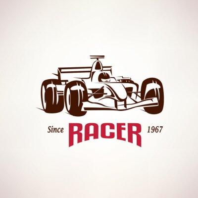 Картина формула гоночного автомобиля эмблема, символ гонки болидов