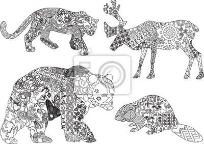 четыре животных из разных стран в этнические узоры