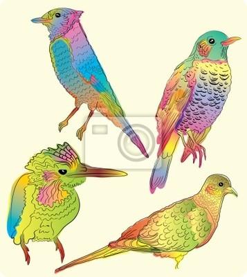 Четыре красивые птицы