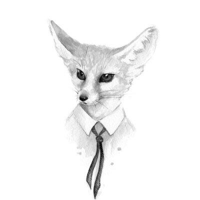 Картина Лиса. Черно-белые иллюстрации акварель