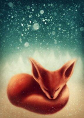 Фокс спать в зимнем лесу