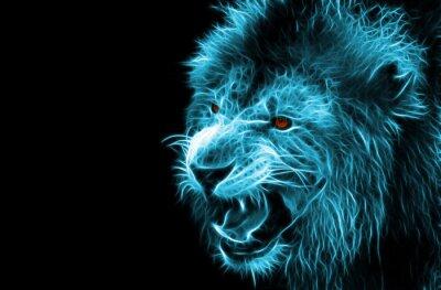 Картина Фрактальная цифрового фантазии искусство льва на фоне изолированные