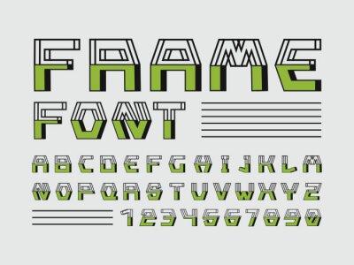 Frame font. Vector alphabet