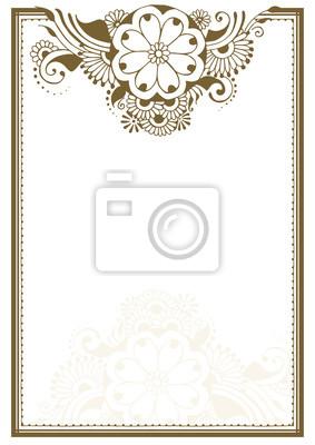 Рамка с цветочным узором в стиле мехенди
