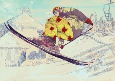 Картина Свободный стиль лыжник, трюк (это рисунок преобразуется в вектор)