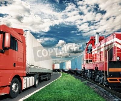 Картина грузовой поезд и грузовик, как транспортной концепции