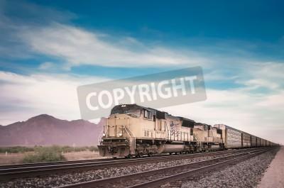 Картина Freight train running travelling Arizona desert