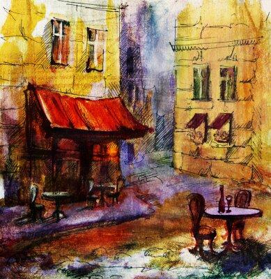 Картина Французский открытый европейский кафе живопись, графический рисунок в цвете