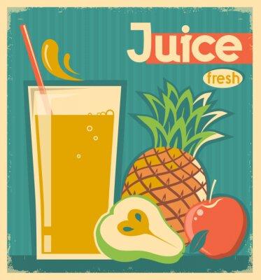Картина свежие фрукты старинные карты juice.Vector