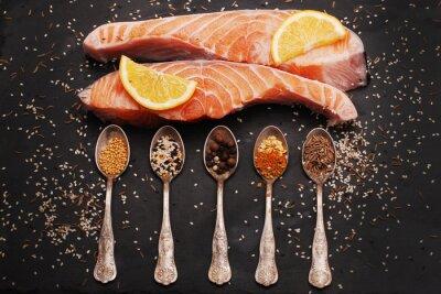 Картина Свежий лосось и специи