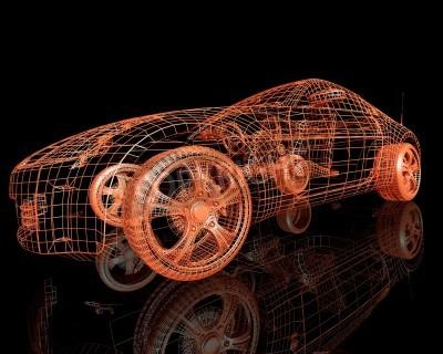 Картина вид спереди современных моделей автомобилей 3d визуализации на черном фоне