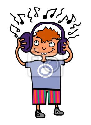 Смешные мальчик слушал музыку в наушниках