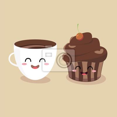 Смешные мультипликационных персонажей чашка кофе и булочек. Векторные иллюстрации плоский дизайн.