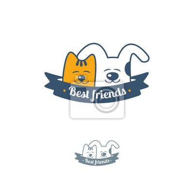 Забавный кот и собака шаблон логотипа