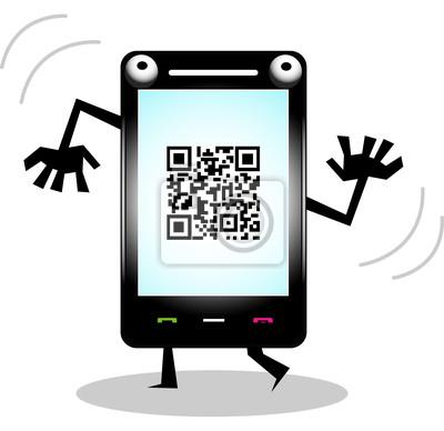Забавный сотовый смартфон с QR кодом