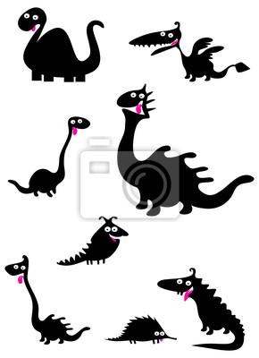Смешные силуэты динозавров