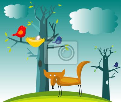 Забавный лисы и птицы