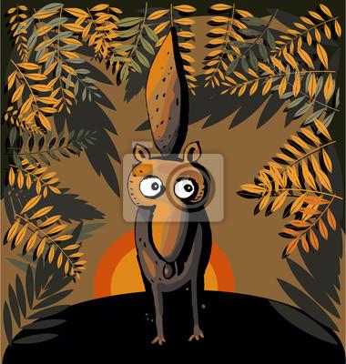 Забавный лиса лес